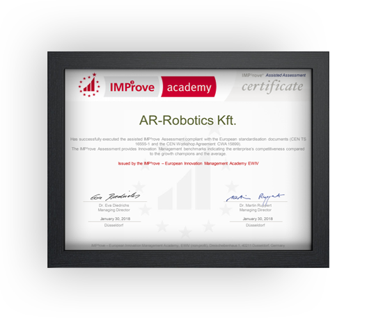 Certificate IMP³rove Assisted Assessment AR-Robotics Kft.